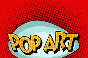 Pop art comic retro bubble text
