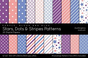Stars, Dots & Stripes Digital Papers