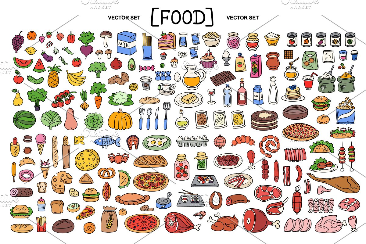 Vector hand drawn set with food