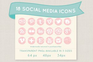 Pink watercolor social media icons