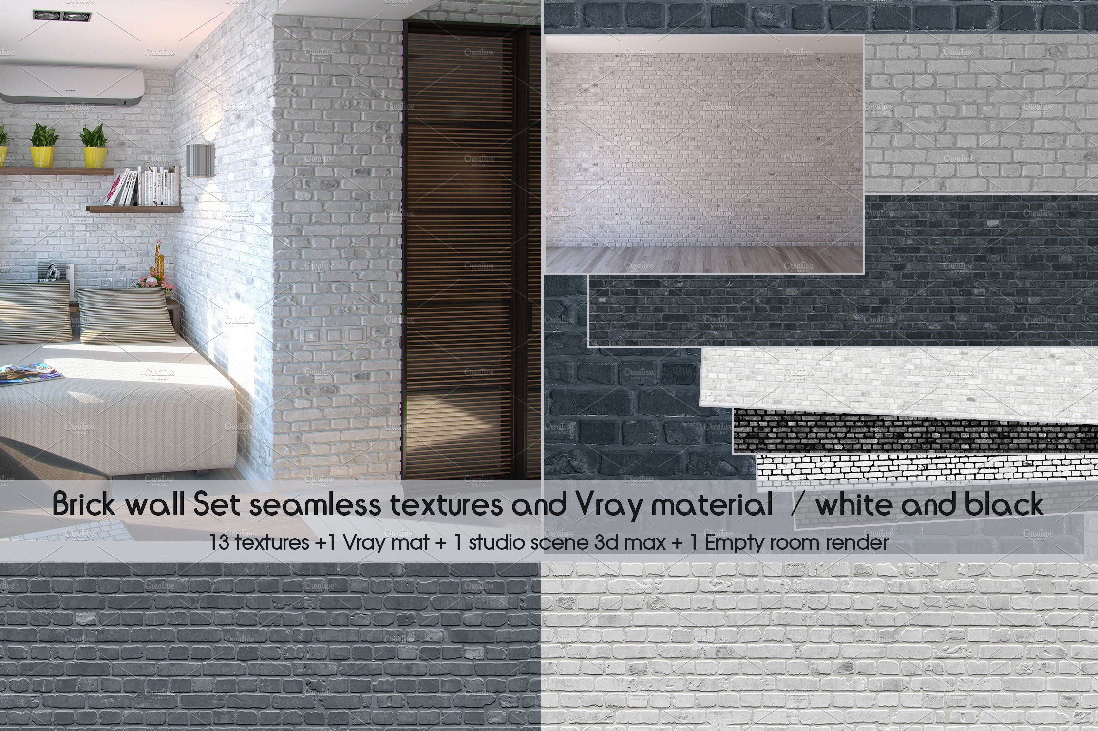 Set Brick Wall Seamless Textures Mat Pre Designed Photoshop Graphics Creative Market