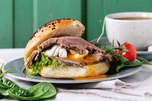 Sandwich with meat and egg