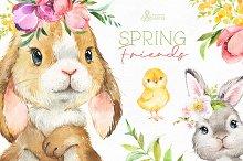 Spring Friends. Watercolor set.