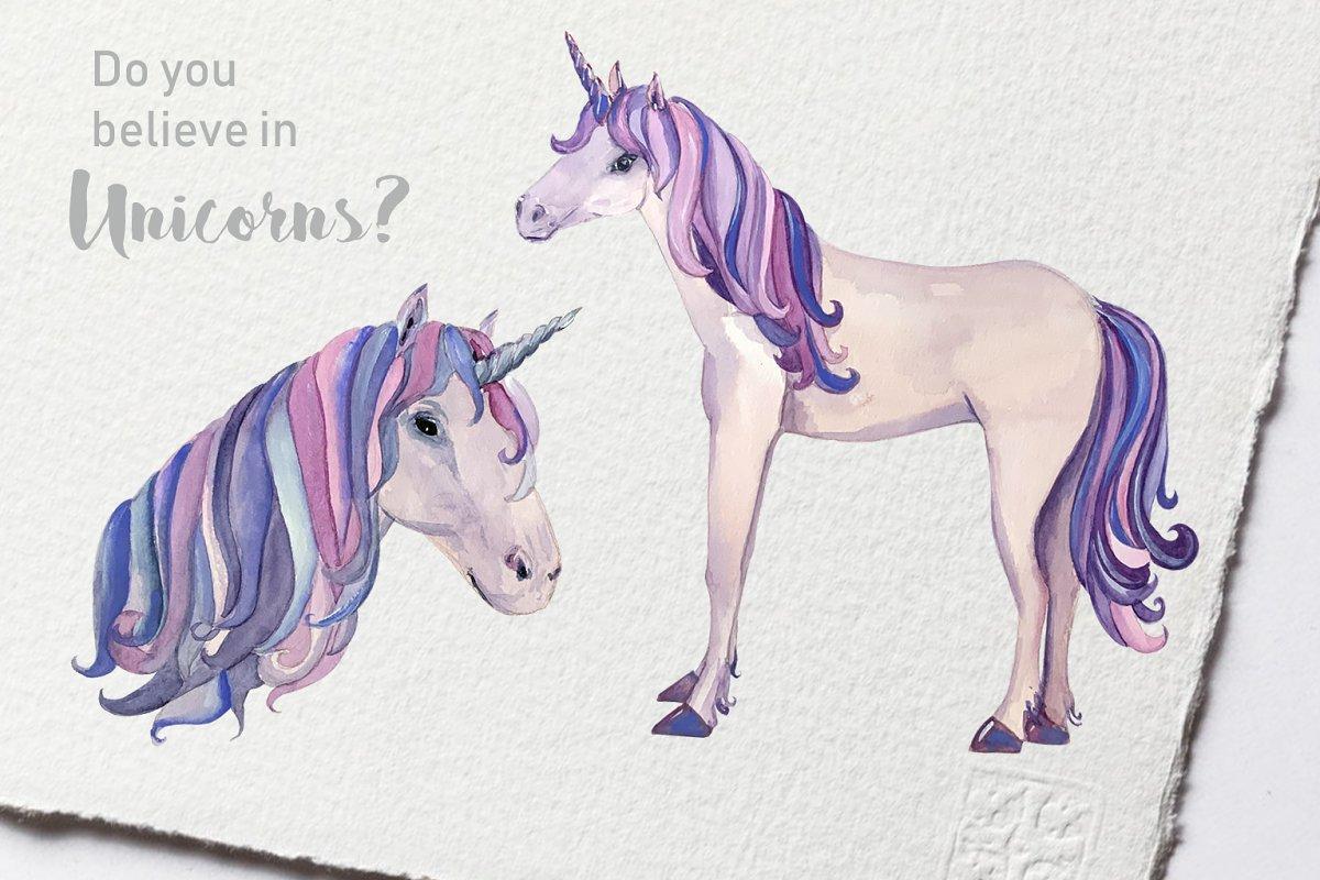 Watercolor Unicorns Clip Art Set