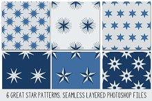 Layered PSD Seamless Star Patterns