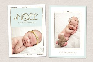 Christmas Noel Card Template CC017