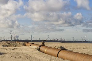 Pipelines on beach near Rotterdam