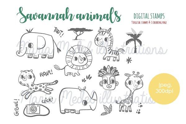 savannah animals set