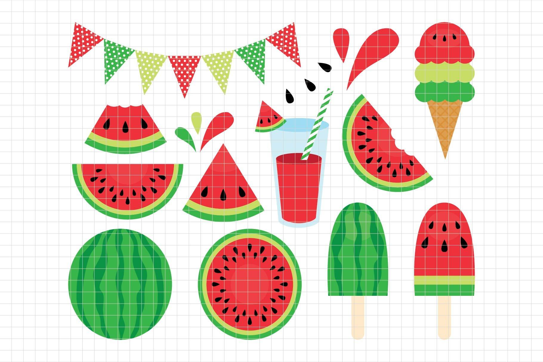 Fresh Watermelon Clipart Les Cl29a Pre Designed Illustrator Graphics Creative Market