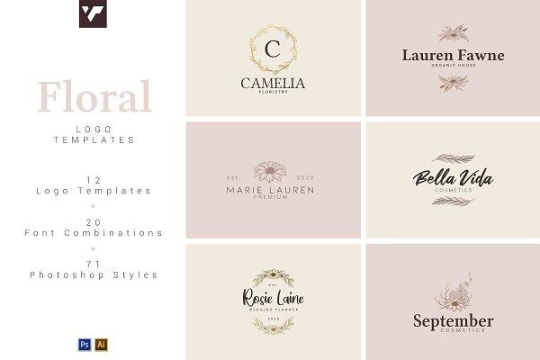 12 Floral Logo Templates - Ai & PS