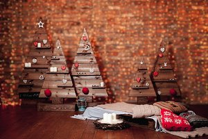 Beautiful Christmas interior with decorated wood tree