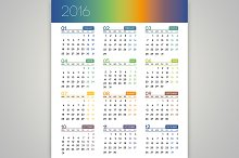 2016 Calendar, 12 months. Vector.
