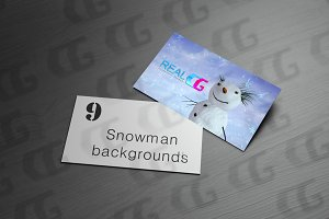 9 snowman with blue sky backgrounds