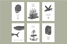 Creative cards with marine themes