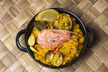 Paella small, typical Spanish rice w