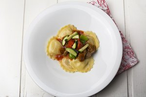 fresh meat tortellini with tomato an