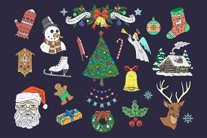 Christmas retro icons & elements