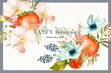 Tasty bouquets. watercolor clipart.