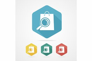Shopping Bag Icon with a Magnifier.