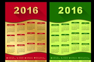 Calendar 2016 customizable template