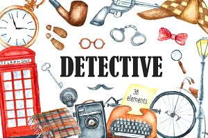 Watercolor retro detective set.