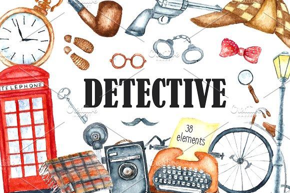 Watercolor retro detective set.