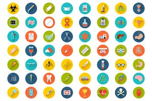 Big set of flat medical icons
