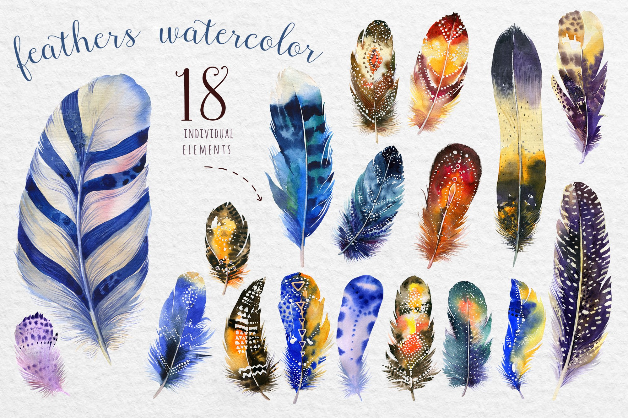 Watercolor Boho Feather Diy Iii Illustrations Creative