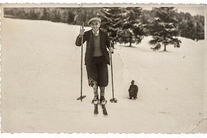 Vintage photo from skiing man