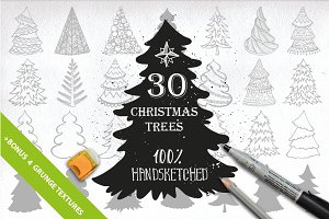 30 Christmas tree set. DIY vector