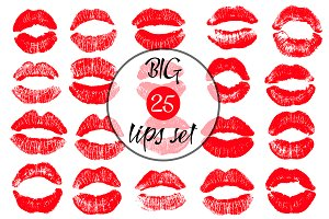20 Lips vector set.
