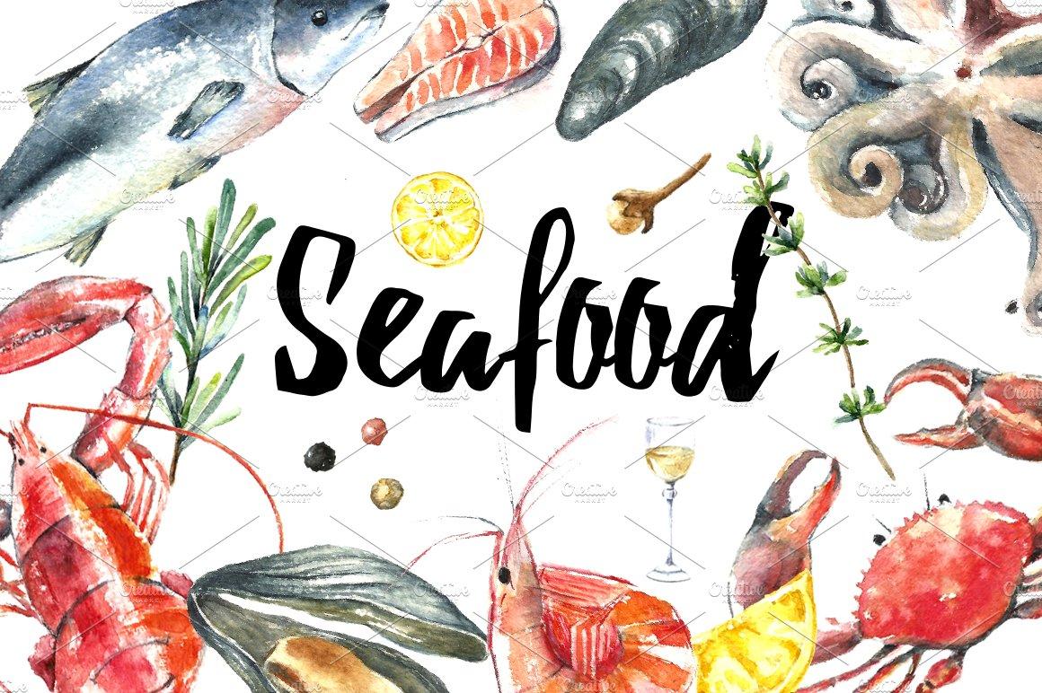 Watercolor seafood set. ~ Illustrations ~ Creative Market