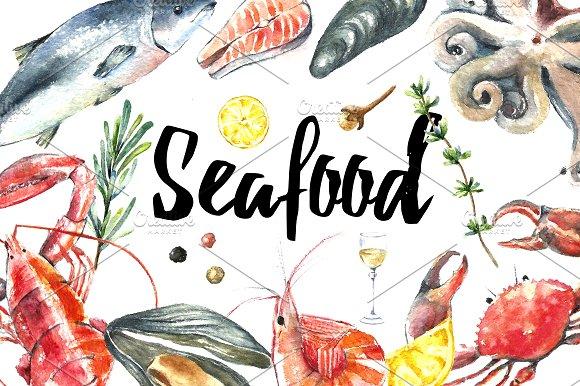 Watercolor seafood set.