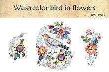 Watercolor bird in flowers