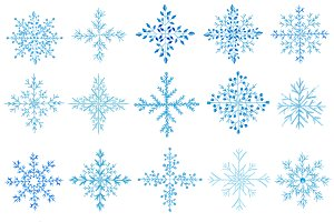 20 Watercolor snowflakes set