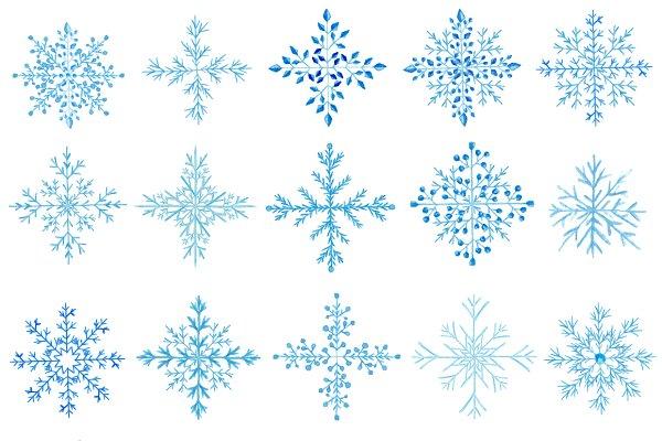 20 Watercolor snowflakes set