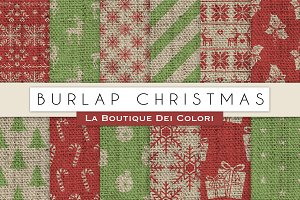Burlap Christmas Digital Papers
