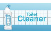 Toilet cleaner banner with liquid