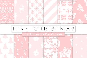 Pink Christmas Digital Papers