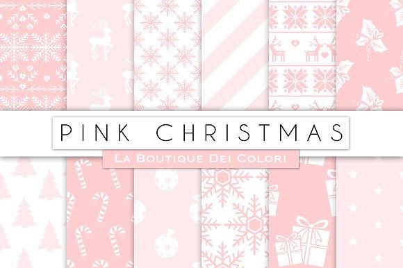 Pink Christmas Digital Papers