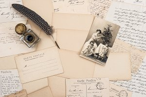 Old letters, vintage postcards