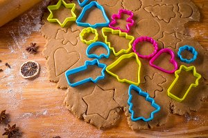 Dough and cookie cutters.