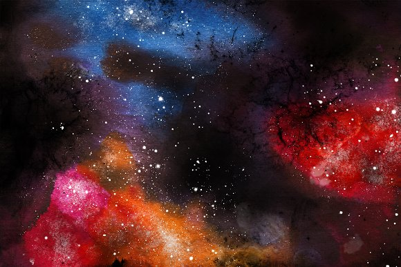 Space Watercolor Backgrounds Set in Textures - product preview 1