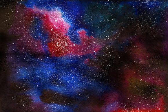 Space Watercolor Backgrounds Set in Textures - product preview 2
