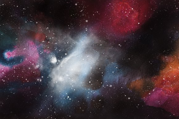 Space Watercolor Backgrounds Set in Textures - product preview 5