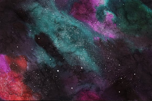 Space Watercolor Backgrounds Set in Textures - product preview 7