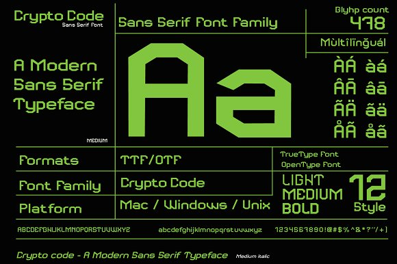 Crypto code - Sans Serif font family in Sans-Serif Fonts - product preview 1