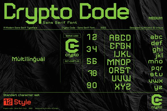 Crypto code - Sans Serif font family in Sans-Serif Fonts - product preview 2