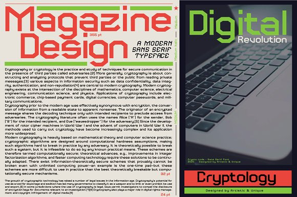 Crypto code - Sans Serif font family in Sans-Serif Fonts - product preview 6