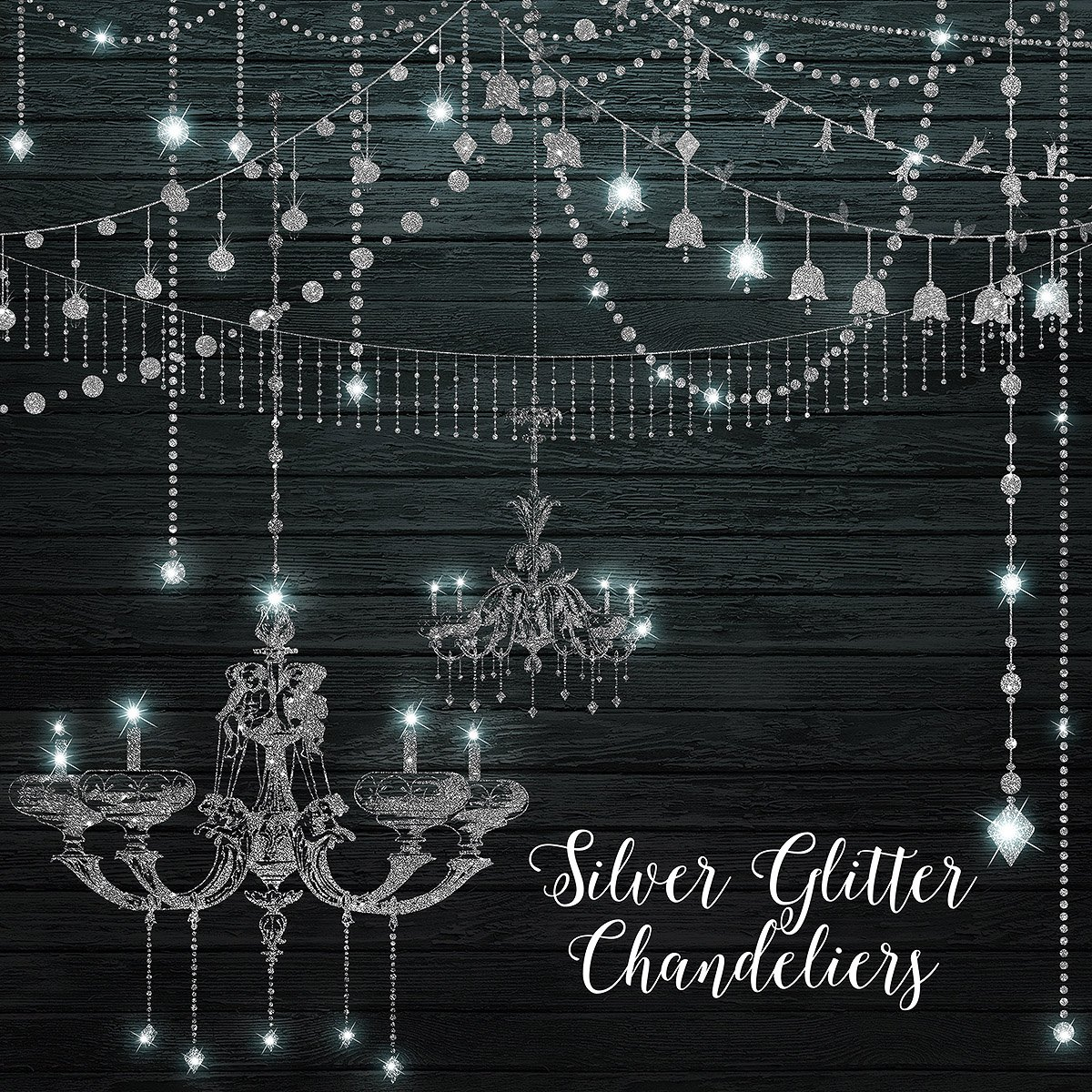Silver Glitter Chandeliers Clipart Graphics Creative